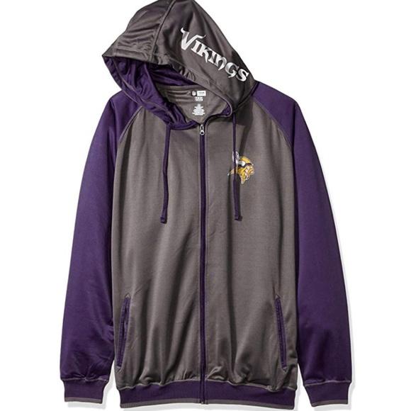 low cost 8bcd8 29c22 Minnesota Vikings Men Full Zip Poly Hoodie 3XL Boutique